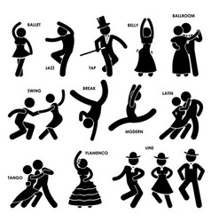 Dancing dancer ballet jazz tap belly ballroom vector