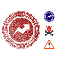 danger trends stamp with grunge effect vector image