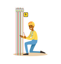electrician engineer repairing electricity power vector image