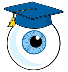Eye Ball Cartoon Character With Graduate Cap vector image
