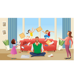 father in a state of stress with playing children vector image