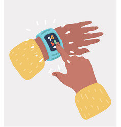 finger tapping on icon of clock on the smart watch vector image
