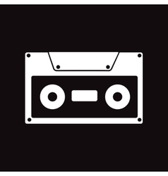 Flat icon in black and white style cassette vector