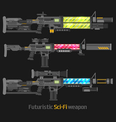 Futuristic sci-fi weapon set vector