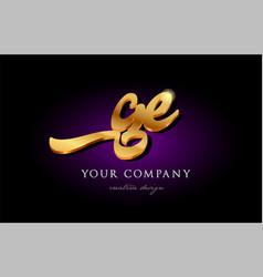 Ge g e 3d gold golden alphabet letter metal logo vector