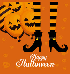 Halloween card with balloons helium and wich feets vector