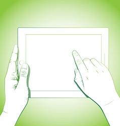 Hand Touching 10 Inch Tablet vector image