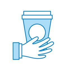 Hand with coffee plastic cup icon vector