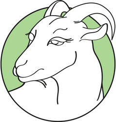 handdrawn goat in round green frame isolated on a vector image