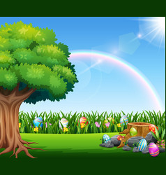 Happy easter nature background with rainbow vector