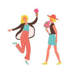 happy woman with flowers jumping lady on holiday vector image
