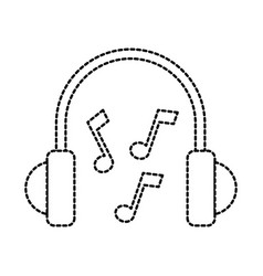 headphones note music sound melody icon vector image