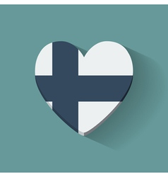 Heart-shaped icon with flag of Finland vector image vector image