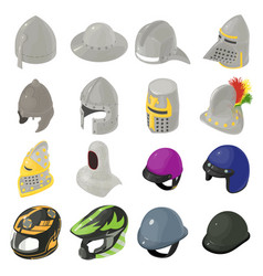 Helmet hat icons set isometric style vector