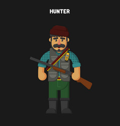 Hunter flat cartoon style vector