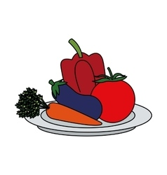 Isolated eggplant pepper and tomato design vector