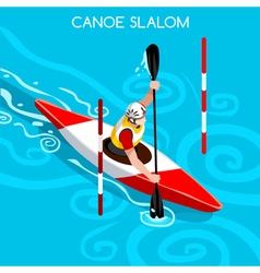 Kayak Slalom 2016 Summer Games Isometric 3D vector
