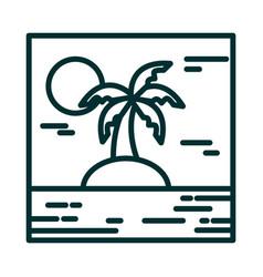 landscape tropical island palm tree sun cartoon vector image