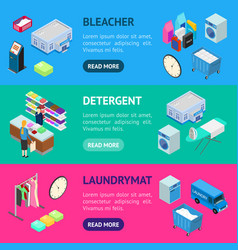 laundry banner horizontal set 3d isometric view vector image