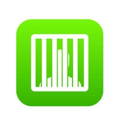 Man behind jail bars icon digital green vector