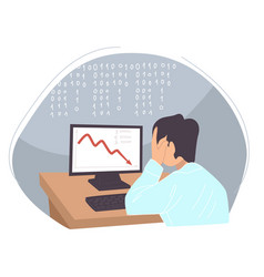 Man worried crisis problems at work business vector