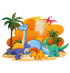 Many cute dinosaurs character in prehistoric land vector
