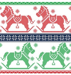 Merry Christmas Scandinavian Nordic pattern vector image
