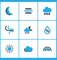 Meteorology colored icons set collection of fog vector
