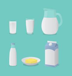 milk in glass bottle and cheese set collection vector image