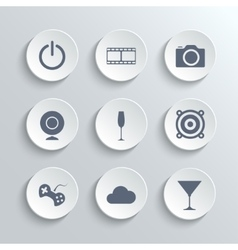 Multimedia icons set - white round buttons vector image