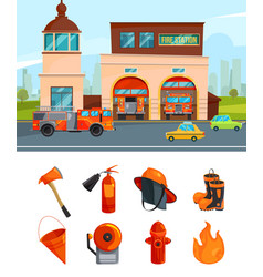 Municipal building of fire station services vector