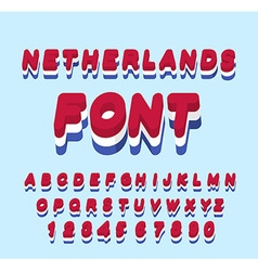 Netherlands font dutch flag onletters national vector