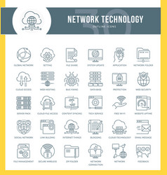 network technology icons vector image