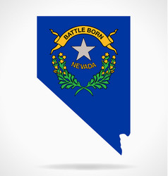 Nevada nv map shape with state flag crest vector