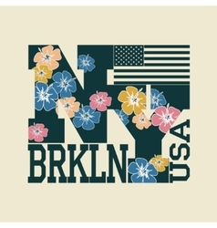New York T-shirt floral letters vector