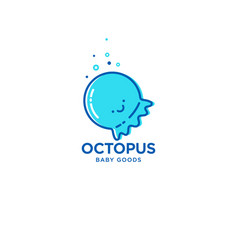 octopus fun logo for baby and kids goods vector image