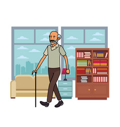 old man with cane skyscrapers silhouette cityscape vector image