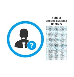 Online Support Rounded Icon with 1000 Bonus Icons vector image