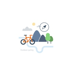 Outdoor sports activities bicycle icon vector