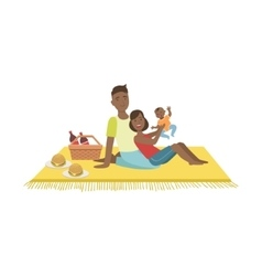 Parents Playing With Baby On Picnic vector