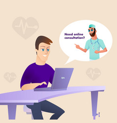 Patient at laptop look for doctor online medicine vector