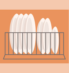 Plates placed on metallic shelf mounted to wall vector