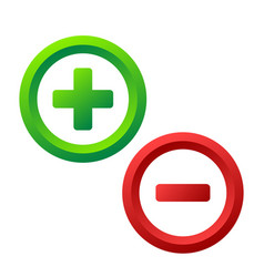Plus and minus icon buttons on white stock vector