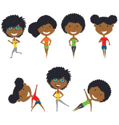 Running and work out african-american girls vector