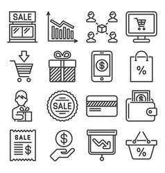sales and shopping icons set on white background vector image