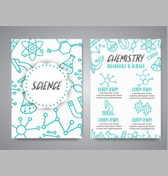 Science banners set research outline icon tiny vector