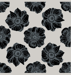 seamless pattern with hand drawn stylized anemone vector image