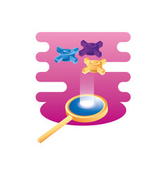 search magnifying glass with hosting server vector image
