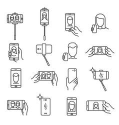 Selfie line icon vector
