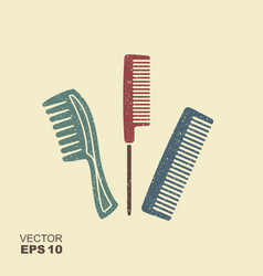 set of different combs flat icon with scuffed vector image